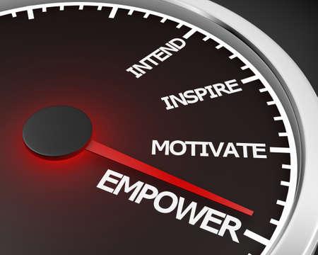 Empower Speedometer 3d Illustration rendering Banco de Imagens