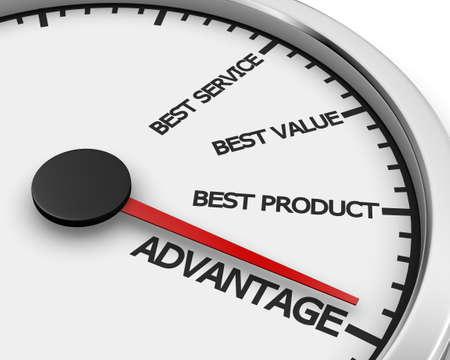 Advantage Better Product Price Service Speedometer 3d Illustration rendering Banco de Imagens