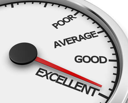 excellent: Excellent Speedometer ,Concept image for excellent customer service. 3d rendering Stock Photo