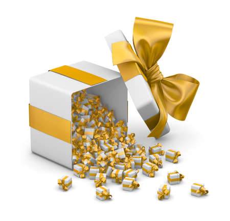 yellow gold gift box for Merry Christmas, New Years Day , Gift box emitting little gift boxes with a yellow ribbon ,3d rendering