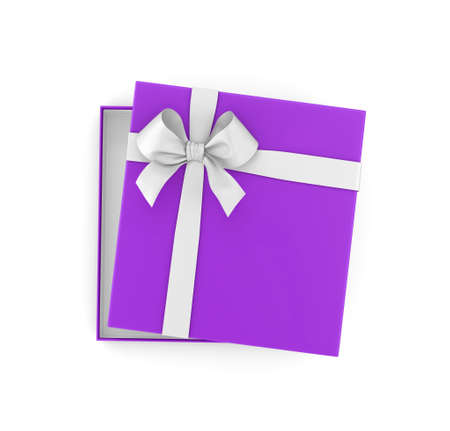 new years day: gift box for Christmas, New Years Day ,Open purple  gift box top view white background 3d rendering