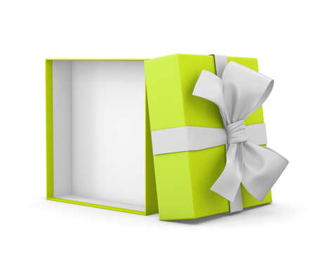 new years day: gift box for Christmas, New Years Day ,Open green gift box white background 3d rendering