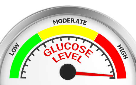 glucose level to maximum conceptual meter, 3d rendering Stockfoto