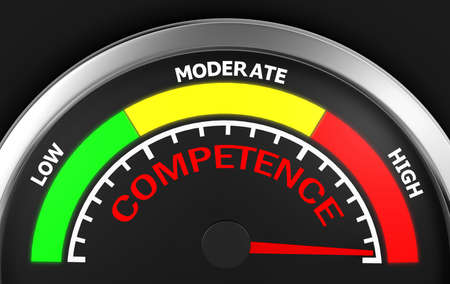 competence: competence level to maximum conceptual meter, 3d rendering