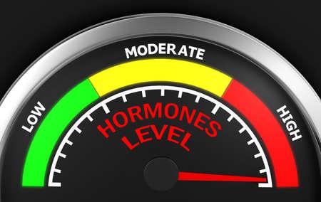 hormonas: hormones level to maximum conceptual meter, 3d rendering