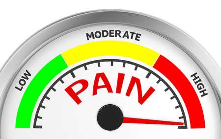 concettuale misuratore di livello di dolore indica il massimo, isolato su sfondo bianco rendering 3D