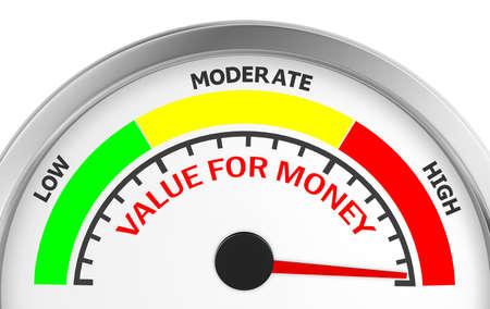 Value for money conceptual meter to maximum, 3d rendering