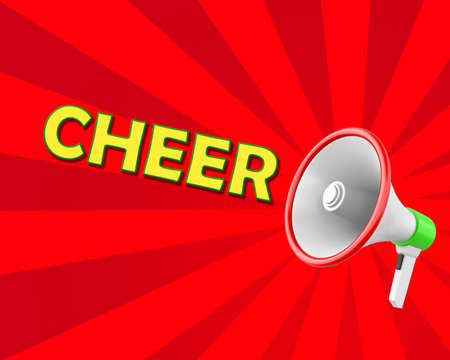 cheer leading: Megaphone-Cheer illustration 3d rendering