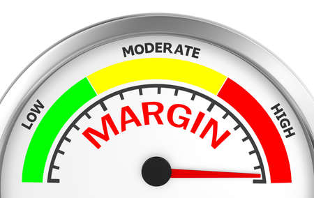 margen: margin profit concept image in the highest meter , 3d rendering