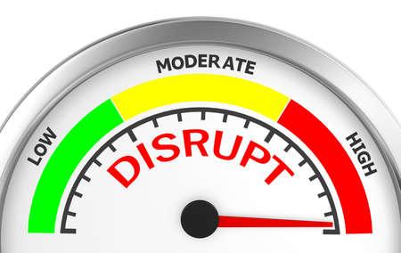 disrupt: disrupt conceptual meter, 3d rendering