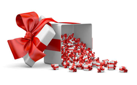 consumerism: red a lot of red gift box for Merry Christmas, New Years Day , Open Gift box emitting little gift many boxes with a red ribbon ,3d rendering Stock Photo