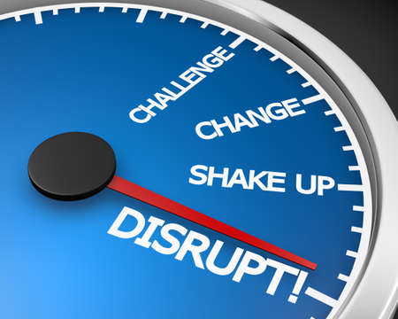 A speedometer with the word Disrupt 3d rendering