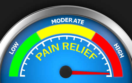 per: pain relief meter indicate hundred per cent 3d rendering Stock Photo