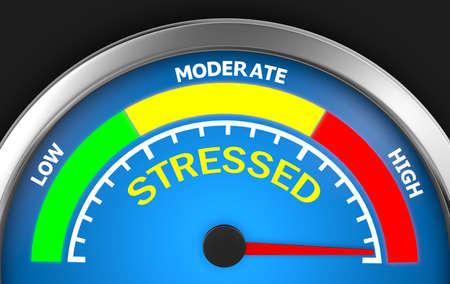 stress level conceptual meter indicating maximum 3d rendering Stock Photo