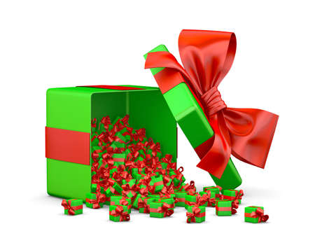 a lot of red green gift box for Merry Christmas, New Years Day , Open Gift box emitting little gift many boxes with a red ribbon ,3d rendering