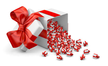 red a lot of red gift box for Merry Christmas, New Years Day , Open Gift box emitting little gift many boxes with a red ribbon ,3d rendering Stock Photo