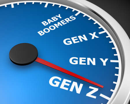 세대 XYZ 속도계 단어 3D 그림 렌더링 스톡 콘텐츠
