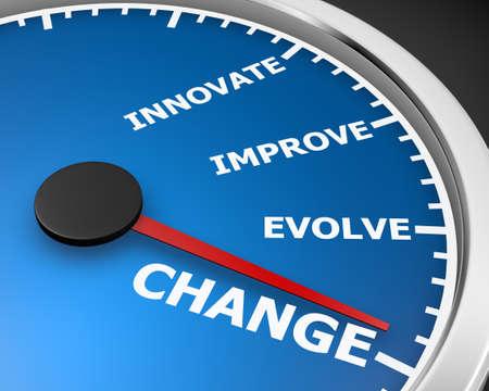 innovator: Change Innovate Improve Involve Speedometer 3d Illustration rendering Stock Photo