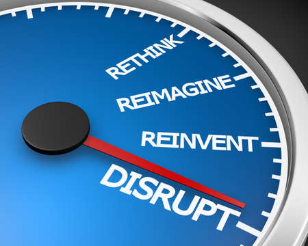 Disrupt Rethink Reimagine Reinvent Speedometer Words Change 3d Illustration rendering