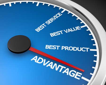 Advantage Better Product Price Service Speedometer 3d Illustration rendering Archivio Fotografico