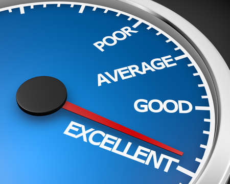 excellent service: Excellent Speedometer ,Concept image for excellent customer service. 3d rendering Stock Photo