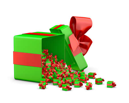 love blast: a lot of red green gift box for Merry Christmas, New Years Day , Open Gift box emitting little gift many boxes with a red ribbon ,3d rendering