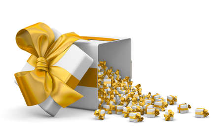 yellow a lot of red gift box for Merry Christmas, New Years Day , Open Gift box emitting little gift many boxes with a yellow ribbon ,3d rendering