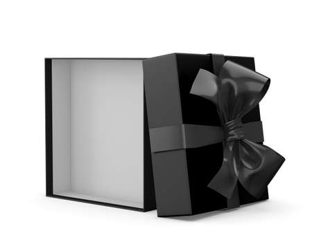 merchandise: Open black gift box white background 3d rendering