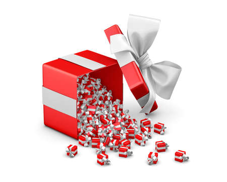 christmas gift box: Merry Christmas, New Years Day , Open red Gift box emitting little gifts many boxes  ,3d rendering