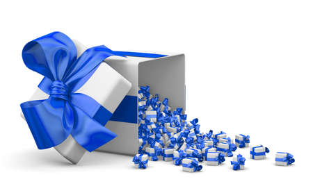 love blast: Merry Christmas, New Years Day , Open Gift box emitting little gifts many boxes with a  blue ribbon ,3d rendering