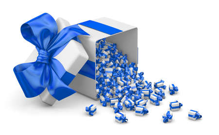 emitting: Merry Christmas, New Years Day , Open Gift box emitting little gifts many boxes with a  blue ribbon ,3d rendering