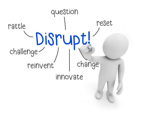 disrupt: business man writing disrupt concept  3d rendering
