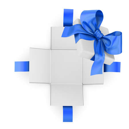 Christmas, New Years Day ,Open blue gift box white background top view 3d rendering