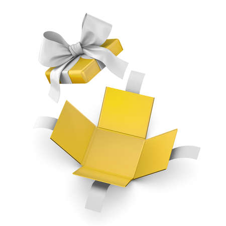 Christmas, New Years Day ,Open yellow gift box white background top view 3d rendering