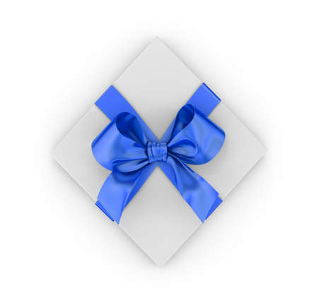 Christmas, New Years Day ,blue gift box top view white background 3d rendering Stock Photo