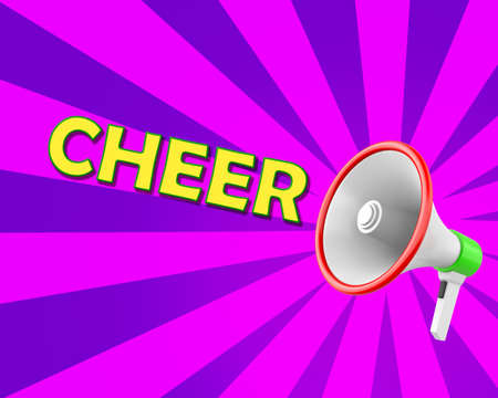 Megaphone-Cheer illustration 3d rendering