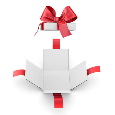 new year s day: Christmas, New Years Day ,Open red gift box white background top view 3d rendering Stock Photo