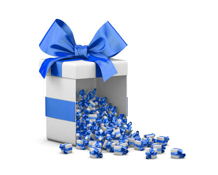 Merry Christmas, New Years Day , Open blue Gift box emitting little gifts many boxes  ,3d rendering