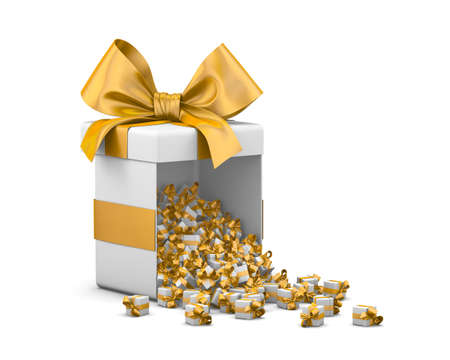 Merry Christmas, New Years Day , Open yellow Gift box emitting little gifts many boxes  ,3d rendering