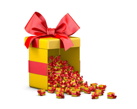 Merry Christmas, New Years Day , Open red yellow Gift box emitting little gifts many boxes  ,3d rendering Stock Photo