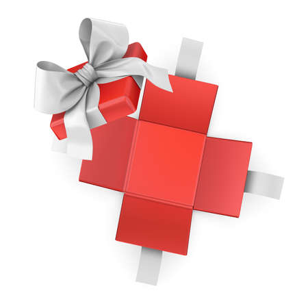 Christmas, New Years Day ,Open red gift box white background top view 3d rendering Stock Photo