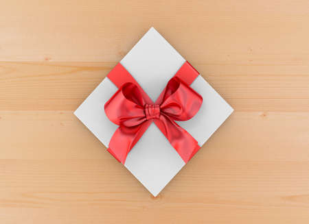 new year s day: Christmas, New Years Day ,Open red gift box top view on table background 3d rendering