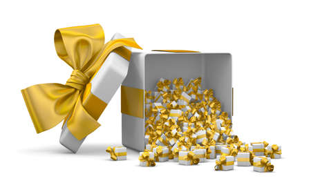 Merry Christmas, New Years Day , Open Gift box emitting little gifts many boxes with a yellow ribbon ,3d rendering Stock Photo