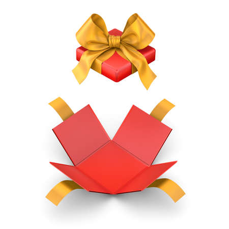 Christmas, New Years Day ,Open red yellow gift box white background top view 3d rendering