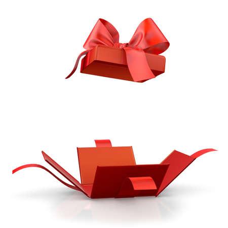 クリスマス、新年の日オープン赤ギフト ボックス ホワイト バック グラウンド 3d レンダリング