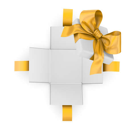 new years day: Christmas, New Years Day ,Open yellow gold  gift box white background top view 3d rendering