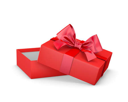 Merry Christmas and Happy New Years Day ,Open red gift ribbon bow box white background 3d rendering