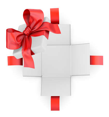 new years day: Christmas, New Years Day ,Open red gift box white background top view 3d rendering Stock Photo