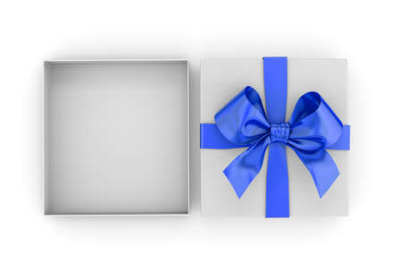 new years day: Christmas, New Years Day ,Open blue gift box top view white background 3d rendering Stock Photo