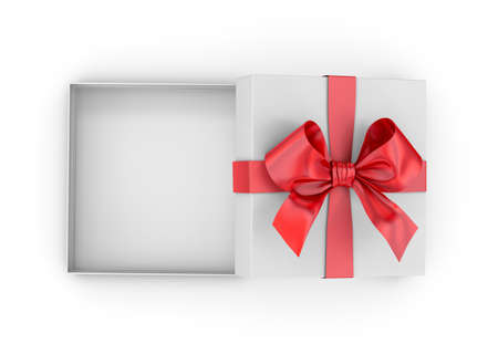 Christmas, New Years Day ,Open red gift box top view white background 3d rendering Stock Photo